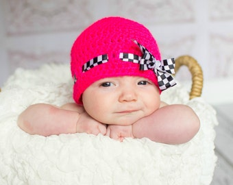hot pink baby beanie hat, baby girl beanie, racing baby hat, checkered flag ribbon hat, toddler hat, girls hat, summer cloche hat, photo