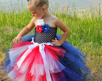 4th of July Dress- Pageant Dress For Girl - Formal Dress Girl - Tulle Dress For Girl - Special Occasion Dress For Girl - Girl Designer Dress