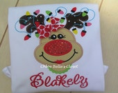 Girly Reindeer with Necklace Ruffle Shirt