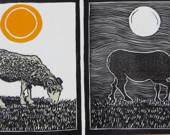 Woodblock print: Day and Night