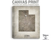 Utah Map Stretched Canvas Print - Home Is Where The Heart Is Love Map - Original Personalized Map Print on Canvas