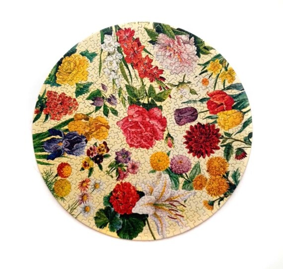 Jigsaw Puzzle- Springbok Circular Puzzle - Garden Flowers - Vintage 1960s -  Maynard Reece - Floral Puzzle - Flowers - Gifts For Her
