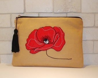Red poppy clutch, hand embroidered on beige canvas, handmade pouch, one of a kind, accessories case, black tassel detailing