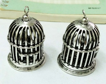 Birdcages Charm for Necklace -1pcs Antique Silver large Bird Cages with Bird inside Charm Pendants AA202-6
