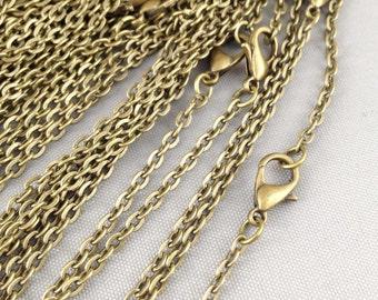 10pcs 2x3mm Antique Bronze Oval Chain Necklace with Clasp 60cm