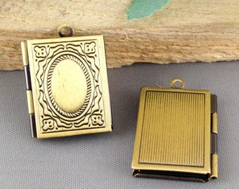 Lockets -3pcs Lucky Magic Box Antique Bronze Brass Book Locket Charm Pendants 19x25mm LB4039