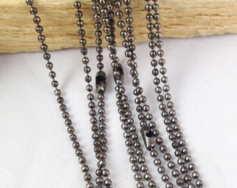Ball Chains -10pcs Gunmetal Black 1.5mm Ball Chain Necklace with Connector 70cm
