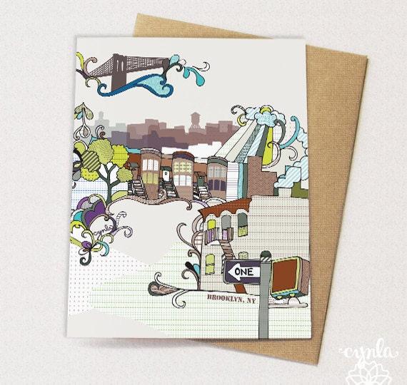Brooklyn Card - brownstones, Brooklyn bridge, water towers - blank inside