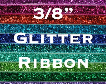"3/8"" Metallic Glitter Ribbon 20 Yards"