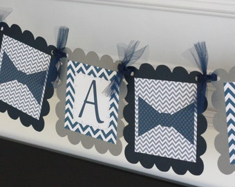 "Navy Blue and Grey Chevron - ""Little Man"" or ""Its a Boy"" Bowtie or Mustache Baby Shower Banner - Ask About Party Pack Specials"