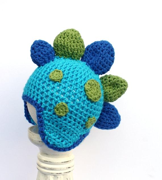 Crochet Baby Dinosaur Beanie Pattern : Crochet Beanie Dinosaur Baby Ear Flap Hat by ...