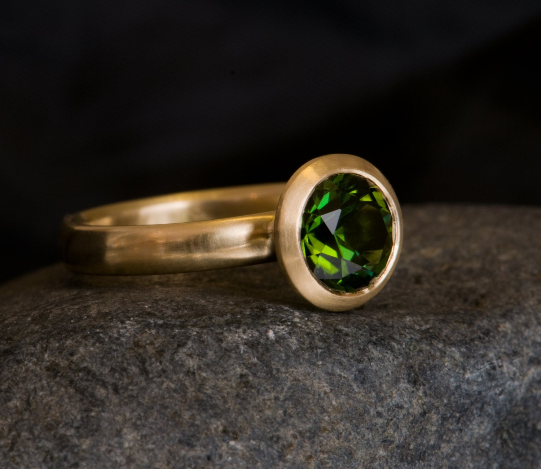 Tourmaline Ring Dark Green Tourmaline Set In 18ct Yellow
