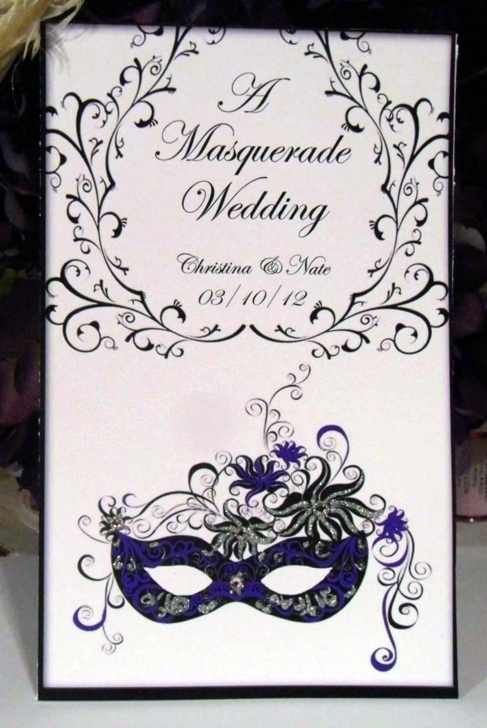 Masquerade Wedding Invitation Book Style Ornate Rsvp