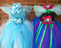 Get Ready for Halloween! Matching Sibling Frozen Anna Elsa Tutu Dress Costume Birthday Full Includes Hair Piece Bow Anna Matching
