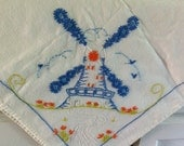Windmill- tablecloth- bridge tablecloth- embroidered tablecloth-card table