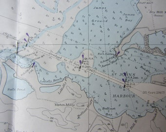 Nautical Decor:  Vintage Nautical Chart - West Indies - Antigua - Saint Johns Harbor - AUTHENTIC NAUTICAL CHART