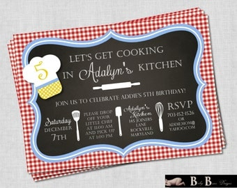 Chef or Cooking Birthday Party Invitation (red, yellow, and blue)