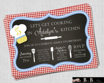 Chef or Cooking Birthday Party Invitation - Printable (red, yellow, and blue)