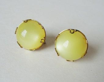 Vintage Yellow Screw Back Post Earrings