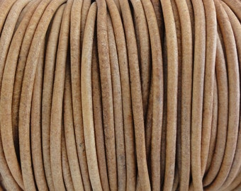 3mm Natural Leather Cord Round Undyed - 2 Yard Increments
