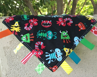 SALE Scary Monsters Tag Blanket with your choice of Minky // In Stock, Ready to Ship