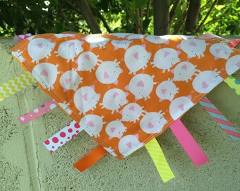 SALE Orange Piggies Tag Blanket with your choice of Minky // In Stock, Ready to Ship