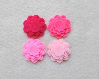 48 Piece Die Cut Tiny Felt Flower Set, Pinks