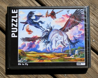 504 piece horse PUZZLE from the acrylic painting Oh to Fly.