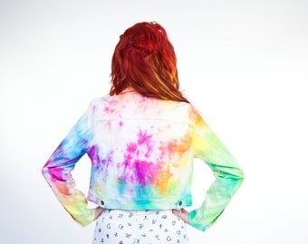 Tie Dye Denim Jacket Rainbow Burst