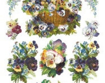 Pansy Sticker Package - 2 sheets - from Violette Stickers