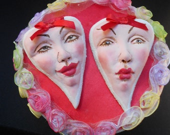 Doll faces VALENTINES HEARTS on  decorative box