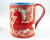 MUG SGRAFFITO - FANTASY Horse Deer & Detailed Design - Select Color - Animal Carved Art Design - Mexican Folk Art Inspired Ethnic