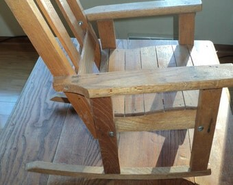 Vintage Rustic Chic Hand Made Solid Oak Rocking Chair, Smaller Sized Chair made with Solid Oak Slats in Original Condition