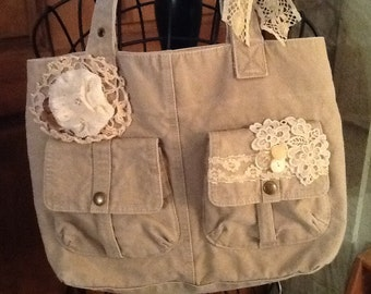 Embellished, vintage canvas purse, tote - lace, buttons, yoyo - ooak