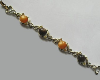 Moonglow Bracelet with Rhinestone Accents Gold Setting Orange Brown Vintage Jewelry Sale