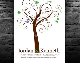 Whimsical FINGERPRINT WEDDING TREE - Swirly Tree - Thumbprint Tree Guest Book - Personalized Print - 100-150 guests 16x20 num.150