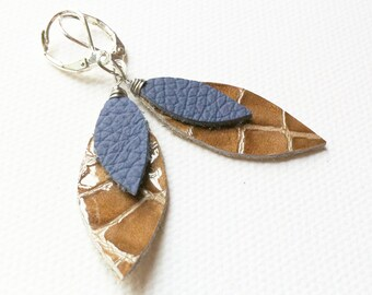 "1 1/2"" Leather Leaf Earrings"