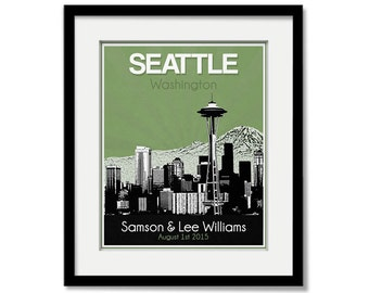 Seattle Skyline Wedding Gift - Personalized - Anniversary - Custom Date  Location City and State Modern Art Print Washington Seahawks