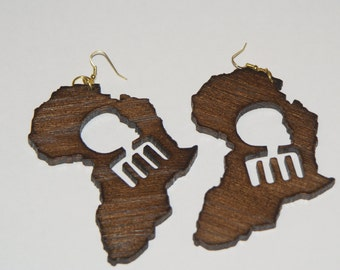 Afro Afro Pick Africa Wood Earrings - Dark Brown