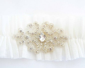 Off White Tulle Garter  Posh with Crystals