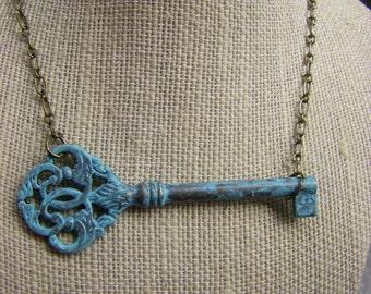 Key Necklace, Sideways Key Necklace, Patina Key Pendant