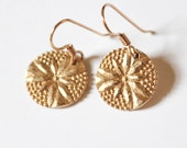 Bronze Earrings , Golden earrings , Circle earrings , Flower earrings , Minimalist