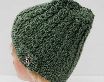 Knit green beanie, cable hat, knit button hat, knit wool hat, green knit hat, knit green hat, green knit beanie, women's hat, knit beanie