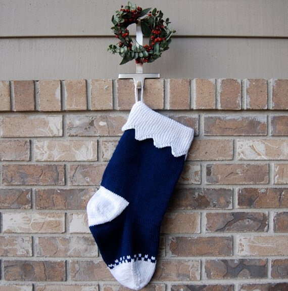 Navy Blue Christmas Stocking, hand knit stocking blue, navy blue stocking, zigzag cuff, white and blue stocking, blue and white stocking