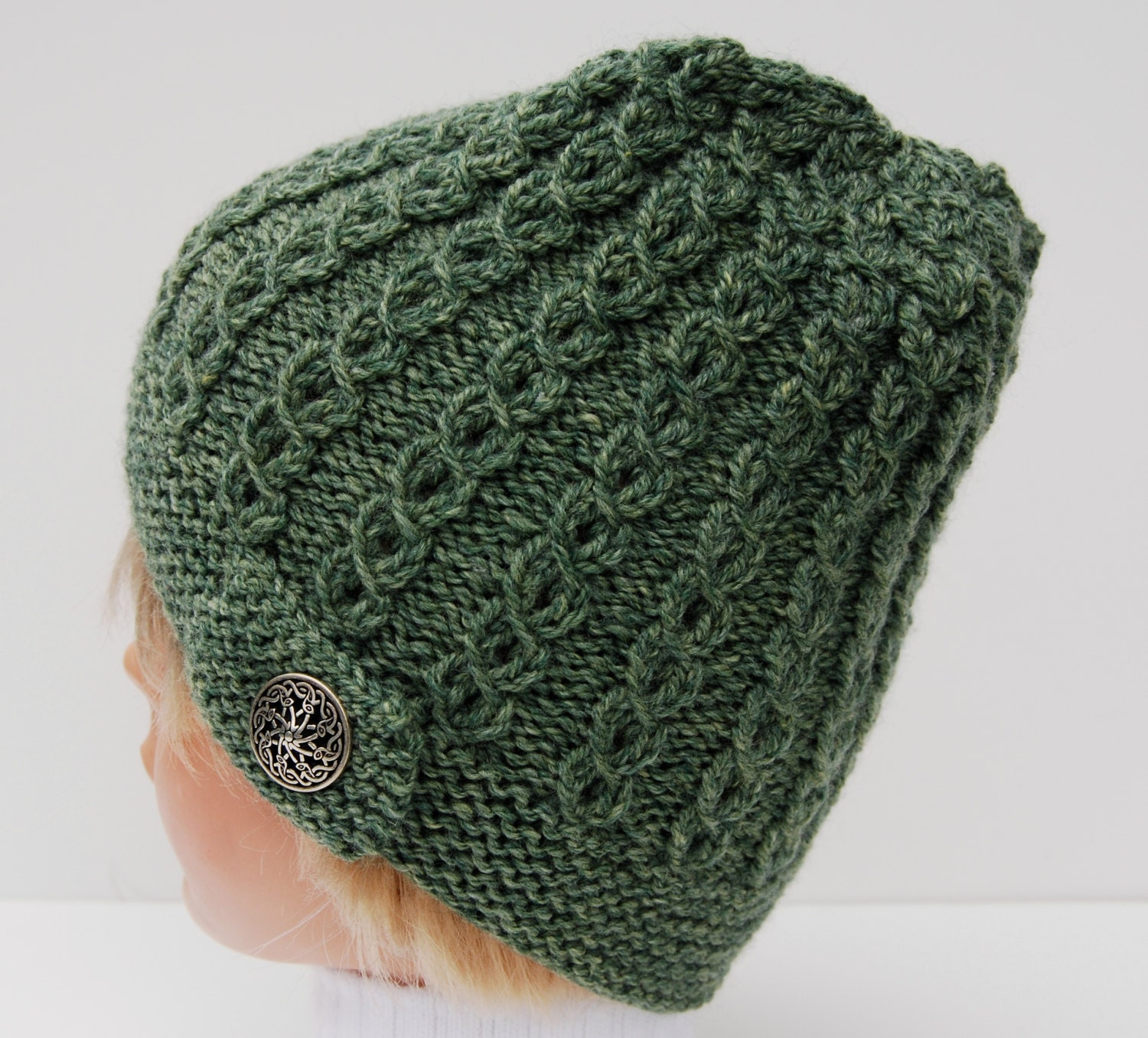 Knit green beanie knit cable stitch hat knit by LoopsAndLines