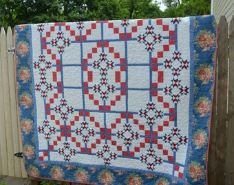 Handmade Quilt Modern Queen Americana Red White Blue Stars Wedding Present Retirement Gift Rose Floral Classic Holiday Summer Picnic Quilt