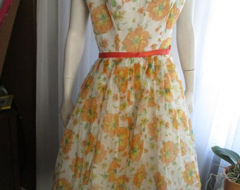 1950's NO LABEL Big Girl's Orange Floral Chiffon Dress