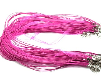 """100 Fuchsia Organza Ribbon Necklaces - WHOLESALE - Thick Organza - 5 Strands - Some Other Suppliers Have Less Strands - 17"""" - CH294b"""