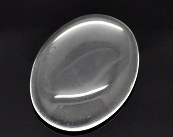 10 Dome Seals - Clear Glass - WHOLESALE - 40x30mm  - Ships IMMEDIATELY from California - C188b