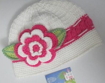 Baby Beanie Hat, Girls Crochet Baby Hat, Girls Flower Hat, Toddler Girl Beanie, Baby Hats for Girls, Beanie Crochet Girls Hat Toddler Hats